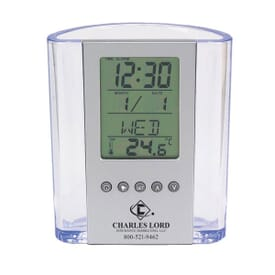 Clear Pen Cup with Digital Alarm Clock & Thermometer