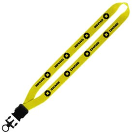 "3/4"" Stretchy Elastic Tube Lanyard With Snap Buckle Release And Plastic O-Ring"