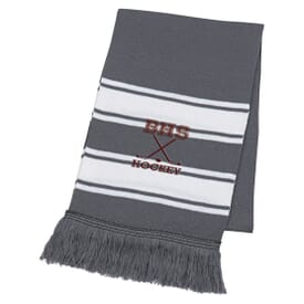 Two-Tone Knit Scarf With Fringe