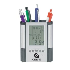 Pen Cup With Digital Alarm Clock & Thermometer