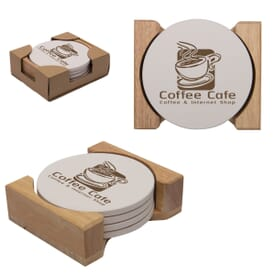 Round Absorbent Stone Coaster Set