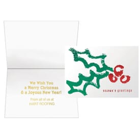 Textured Contemporary Holly Greeting Card