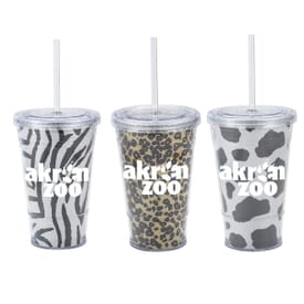 16 oz Glitter Slurpy with Animal Print