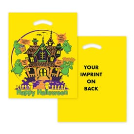 "12"" x 15"" Haunted House Yellow Halloween Die Cut Bag"