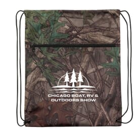 Outdoor Camo Drawstring Backpack W/ Zipper