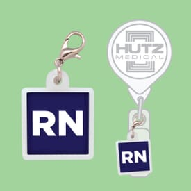 Square Badge Reel Charm- Polydome