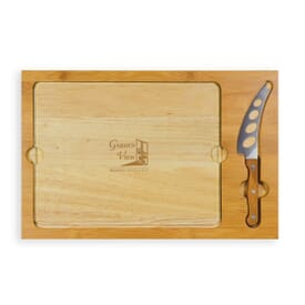 Icon- Rectangular Glass Top Cutting Board W/ Knife