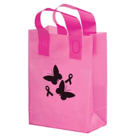 Pink Frosted Soft Loop Shopper- 10 X 13 X 5