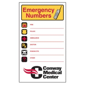 "3 1/2"" X 6"" Emergency Numbers Mega-Mags™ Magnet"
