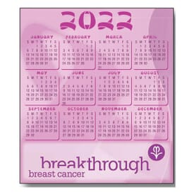 "3 1/2"" X 4"" Pink Ribbon Process Color Magnetic Calendar"