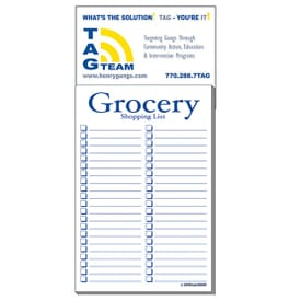 "3 1/2"" X 7 1/2"" Business Card Add-On™ Magnet + Large Pad- Grocery List"