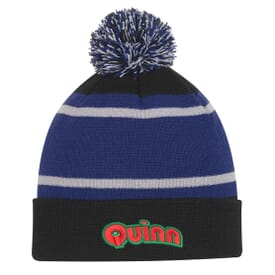 Three-Tone Striped Pom Beanie With Cuff